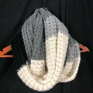 Knitted Black, Gray, White, Infinity Scarf
